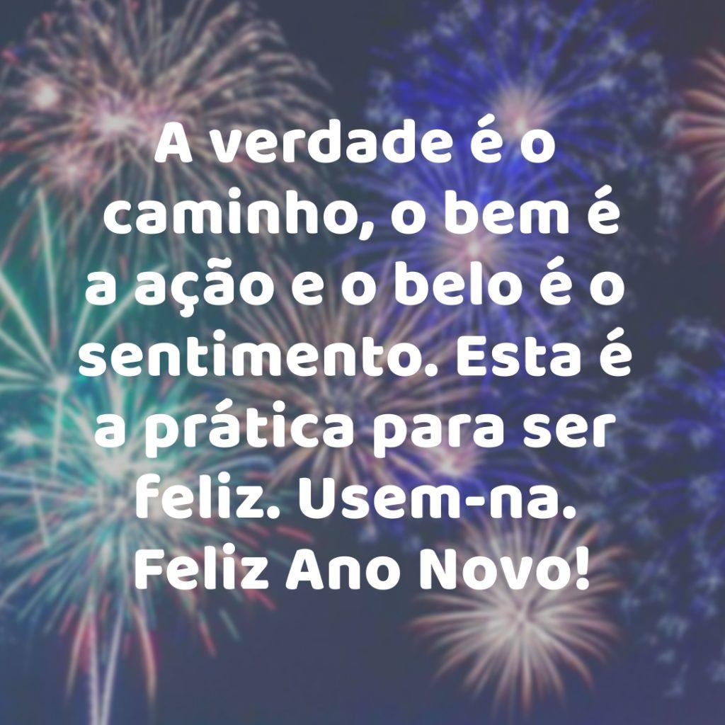 Mensagem de feliz ano novo , A verdade é o caminho, o bem é a ação e o belo é o sentimento. Esta é a prática para ser feliz. Usem-na. Feliz Ano Novo!  Uma linda imagem de ano novo para você mandar para a pessoa que você gosta muito , compartilhe!