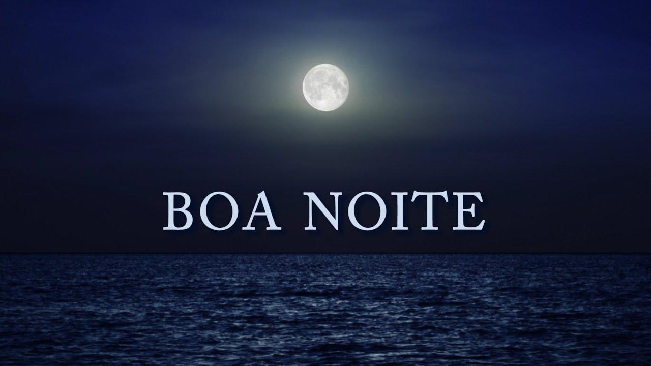 Lua sobre o mar com mensagem de boa noite